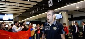 Armenian national football team's arrival at Zvartnots airport