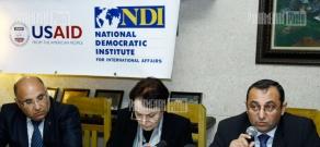 Discussion organized by NDI with participation of parliament members of Marzpetuni Manukyan, Artsvik Minasyan and Larisa Alaverdyan