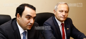 Press conference of NSC of Armenia Arthur Baghdasaryan and President of Polish National Security Bureau Stanisław Koziej