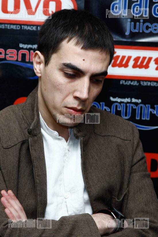Press conference of Antares Holding director Armen Martirosyan, novelist Aram Pachyan and