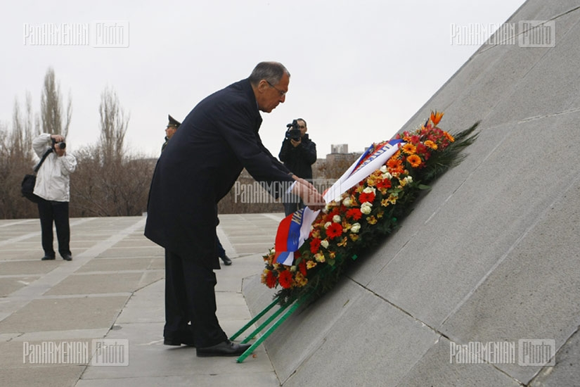 Foreign Minister of Russia Sergey Lavrov visits Armenian Genocide Memorial