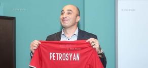 FFA president Ruben Hayrapetyan introduces newly appointed head coach of the National Football Team Artur Petrosyan
