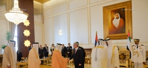 Armenian President Serzh Sargsyan meets with the crown prince of Abu Dhabi, Sheikh Mohammed bin Zayed bin Sultan Al-Nahyan in United Arab Emirates