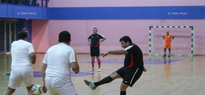 Friendly football match between officials and representatives of student organizations