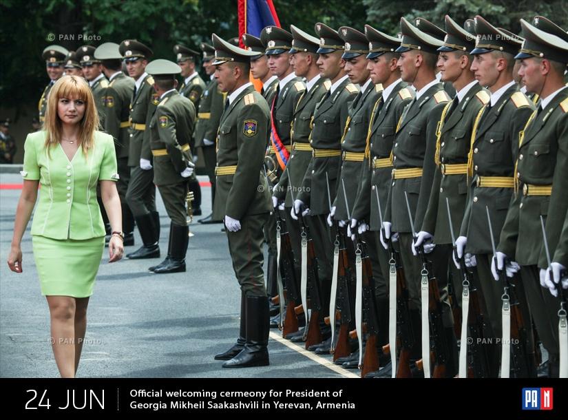 Վրաստանի նախագահ Միխաիլ Սաակաշվիլիի դիմավորման պաշտոնական արարողությունը Երևանում