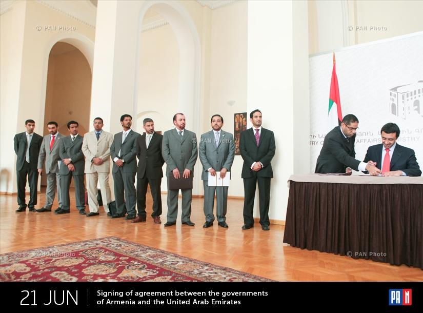 Հայաստանի և Արաբական Միացյալ Էմիրությունների կառավարությունների միջև համաձայնագրի ստորագրում