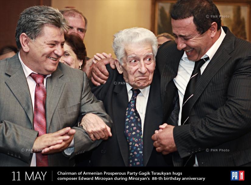 ԲՀԿ առաջնորդ Գագիկ Ծառուկյանը և կոմպոզիտոր Էդվարդ Միրզոյանը վերջինիս ծննդյան 88-րդ տարեդարձին