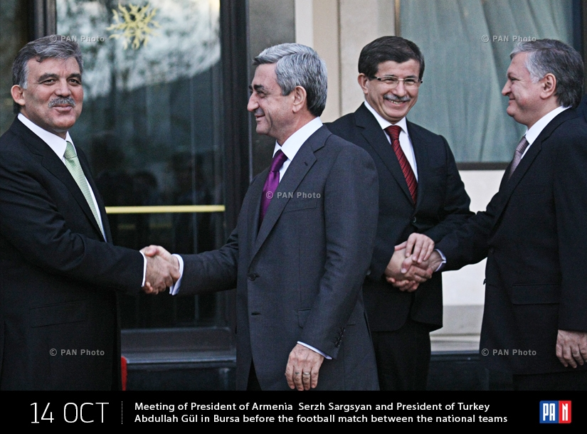 Հայաստանի նախագահ Սերժ Սարգսյանի և Թուրքիայի նախագահ Աբդուլլահ Գյուլի  հանդիպումը Բուրսայում՝ 2 երկրների ազգային հավաքականների ֆուտբոլային խաղից առաջ