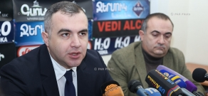 Press conference of Heritage party MP Tevan Poghosyan and  RPA member Levon Martirosyan