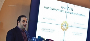 Press conferencee of 100LIVES and Aurora Prize project CEO Arman Jilavyan
