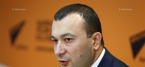 Press conference by secretary of Prosperous Armenia (PAP) parliamentary faction Vahe Enfiajyan