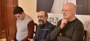 Press conference by composer Stepan Rostomyan, British conductor David Davies, SPOA  Principal Conductor Eduard Topchian and 'Yerevan Perspectives' festival's manager Sona Hovhannisyan