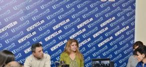 Press conference of former employees of Nairit plant Karine Shahverdyan and Ara Karayan