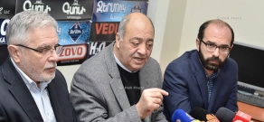 Press conference by Rector of Yerevan State Academy of Fine Arts Aram Isabekyan, Armenia's Writers Union chairman Edward Militonyan and director of Hamazgayin Theatre Vardan Mkrtchyan