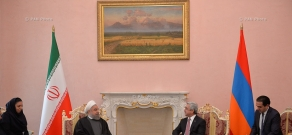 Armenian President Serzh Sargsyan meets with President of Iran Hassan Rouhani at RA Presidential Palace