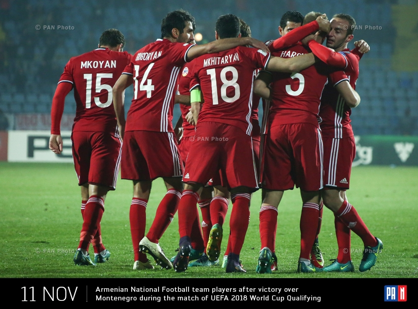 Armenian National Football team players after victory over Montenegro during the match of UEFA 2018 World Cup Qualifying