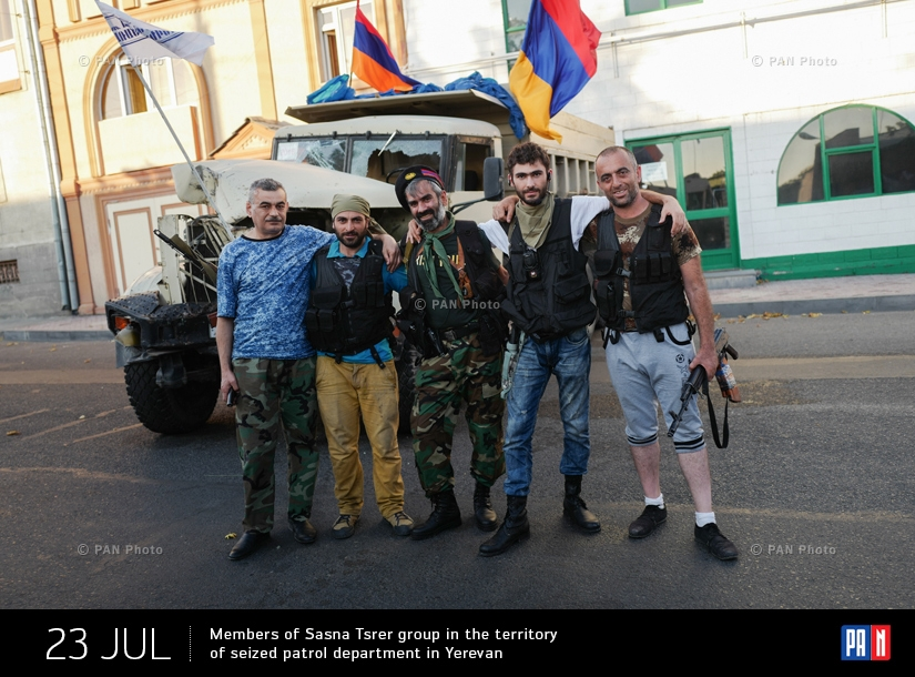 Members of Sasna Tsrer group in the territory of seized patrol department in Yerevan