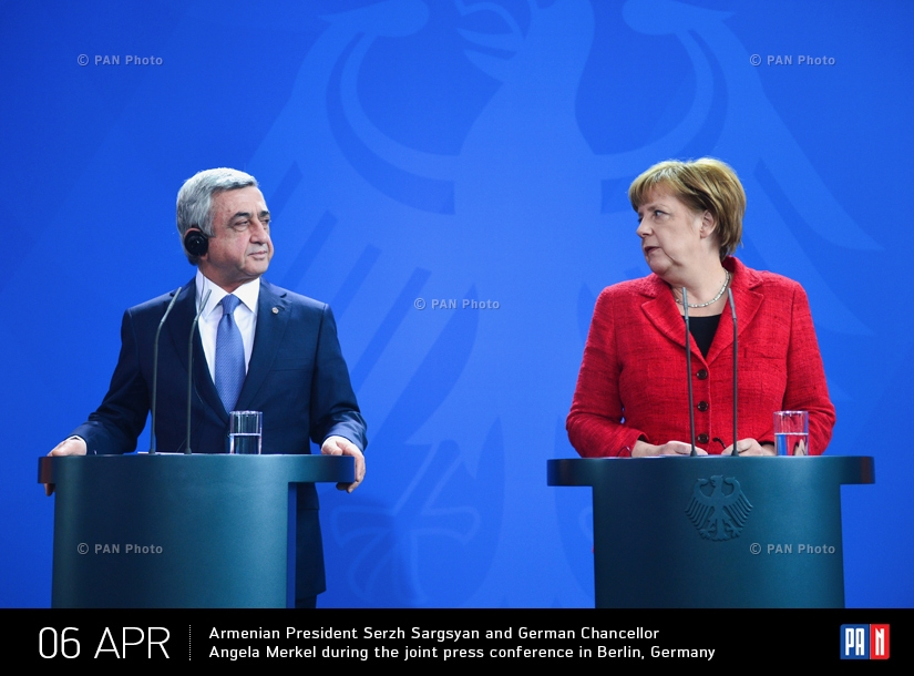 Armenian President Serzh Sargsyan and German Chancellor Angela Merkel during the joint press conference in Berlin, Germany
