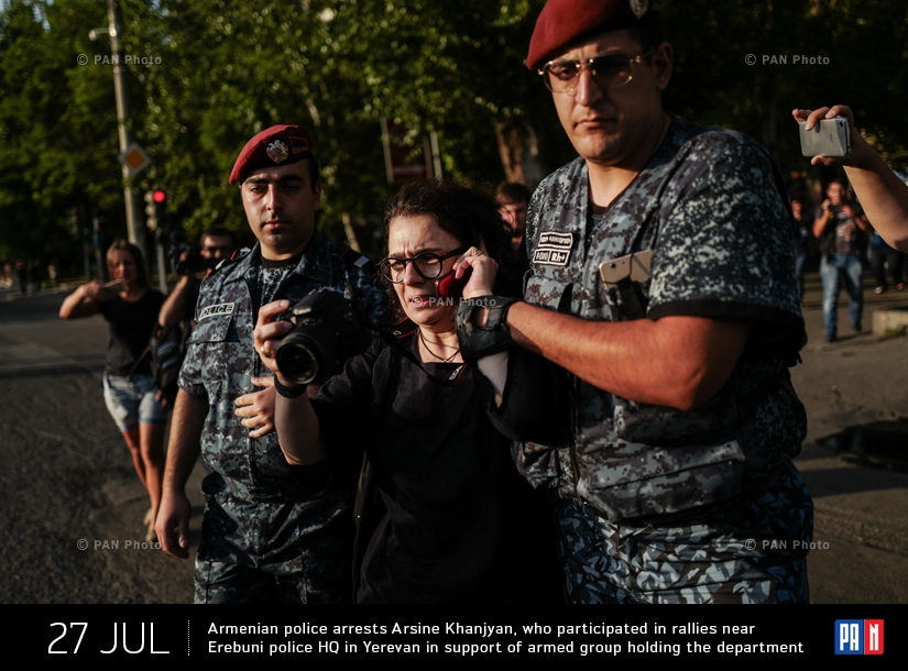 Armenian police arrests actress Arsine Khanjyan, who participated in rallies near Erebuni police HQ in Yerevan in support of armed group holding the department