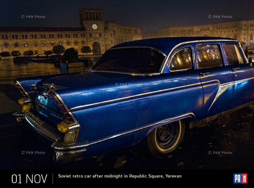 Soviet retro car after midnight in Republic Square, Yerevan