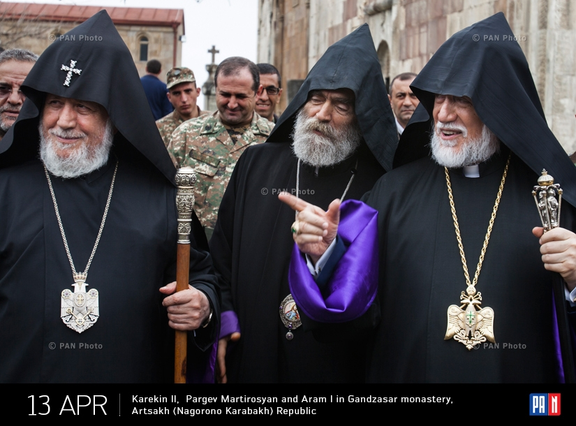 Catholicos of All Armenians Karekin II,  Primate of the Diocese of Artsakh Archbishop Pargev Martirosyan and Catholicos of  Great House of Cilicia Aram I in Gandzasar monastery,  Artsakh (Nagorono Karabakh) Republic
