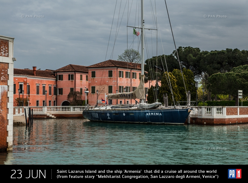 "Saint Lazarus Island and the ship 'Armenia'  that did a cruise all around the world (from feature story ""Mekhitarist Congregation, San Lazzaro degli Armeni, Venice"")"