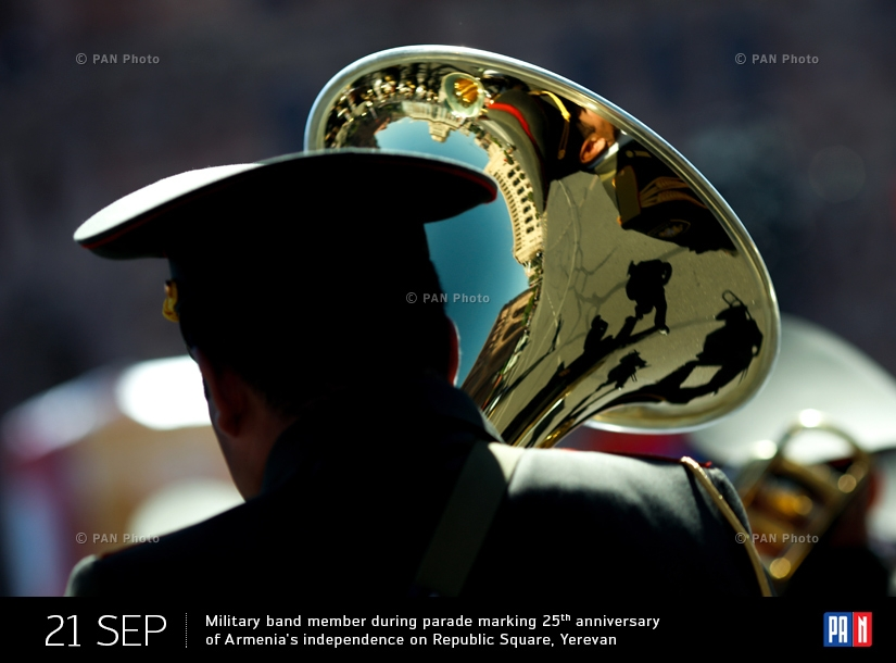 Military band member during parade marking 25th anniversary of Armenia's independence on Republic Square, Yerevan