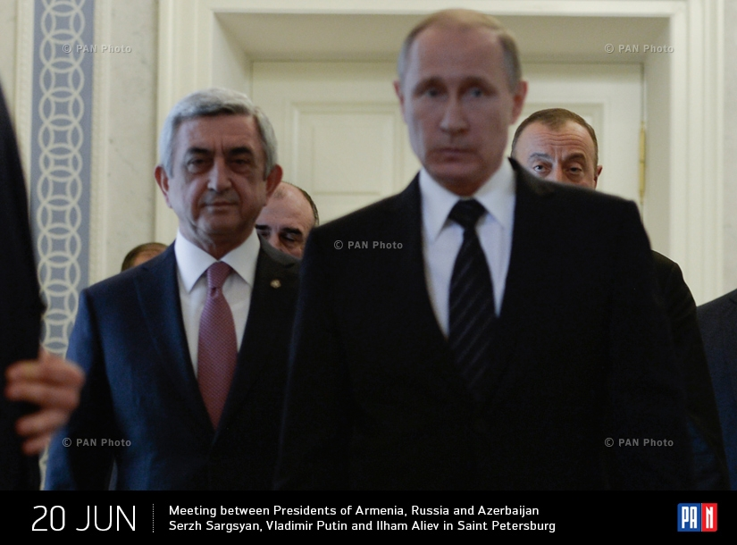 Meeting between Presidents of Armenia, Russia and Azerbaijan Serzh Sargsyan, Vladimir Putin and Ilham Aliev in Saint Petersburg