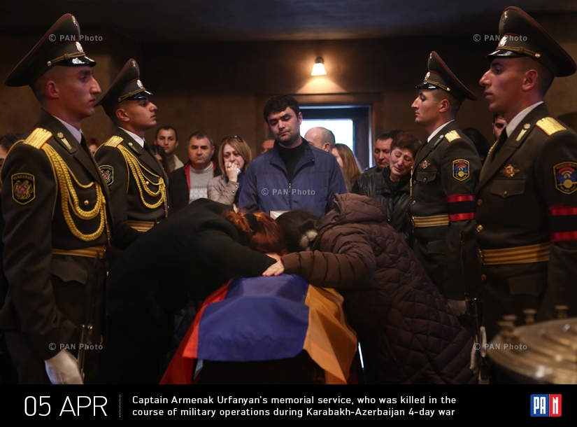 Captain Armenak Urfanyan's memorial service at Saint John the Baptist Church, who was killed in the course of military operations during Karabakh-Azerbaijan 4-day war