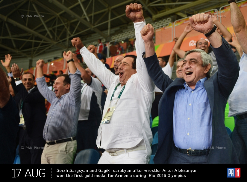 Armenian President Serzh Sargsyan and ANOC President Gagik Tsarukyan after wrestler Artur Aleksanyan won the first gold medal for Armenia during  Rio 2016 Olympics