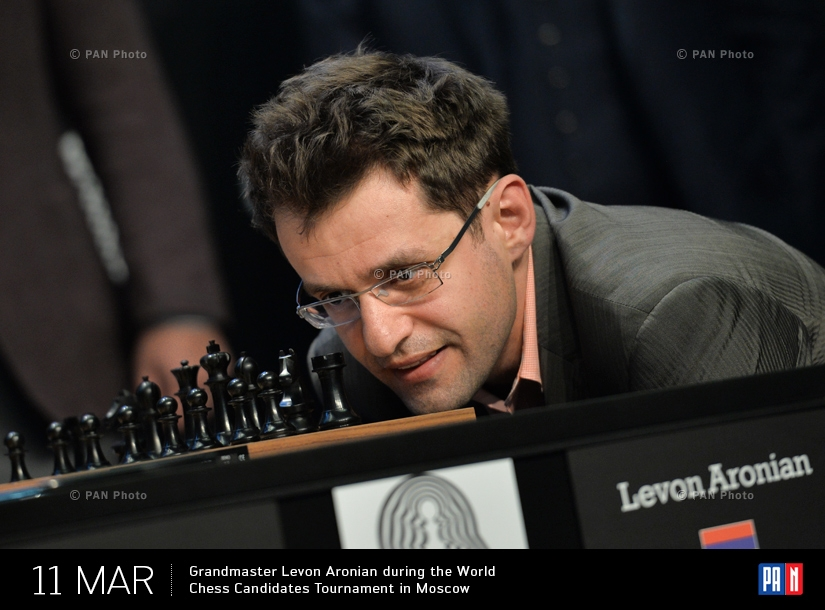 Grandmaster Levon Aronian during the World Chess Candidates Tournament in Moscow