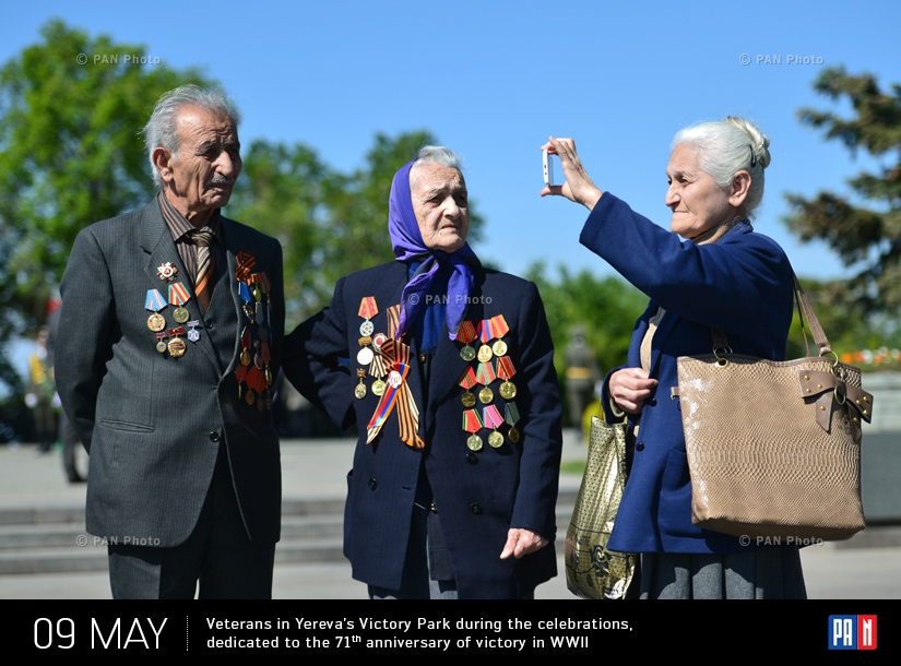 Veterans in Yereva's Victory Park during the celebrations, dedicated to the 71th anniversary of victory in WWII