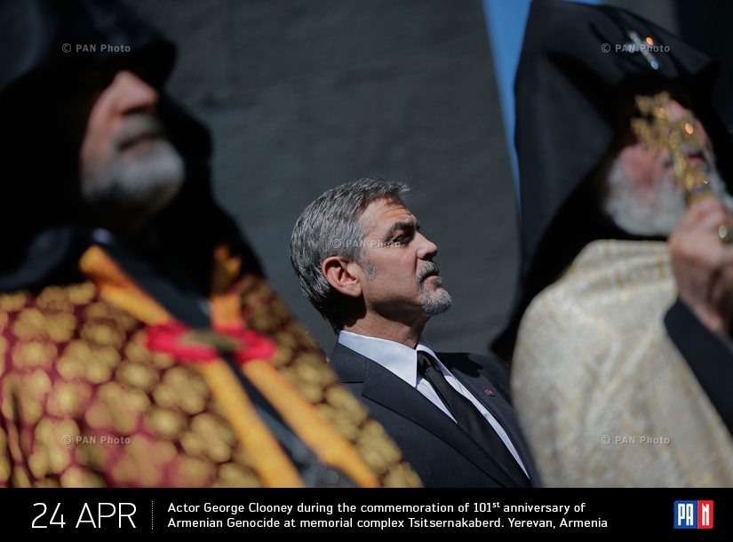 Actor George Clooney during the commemoration of 101st anniversary of Armenian Genocide at memorial complex Tsitsernakaberd. Yerevan, Armenia