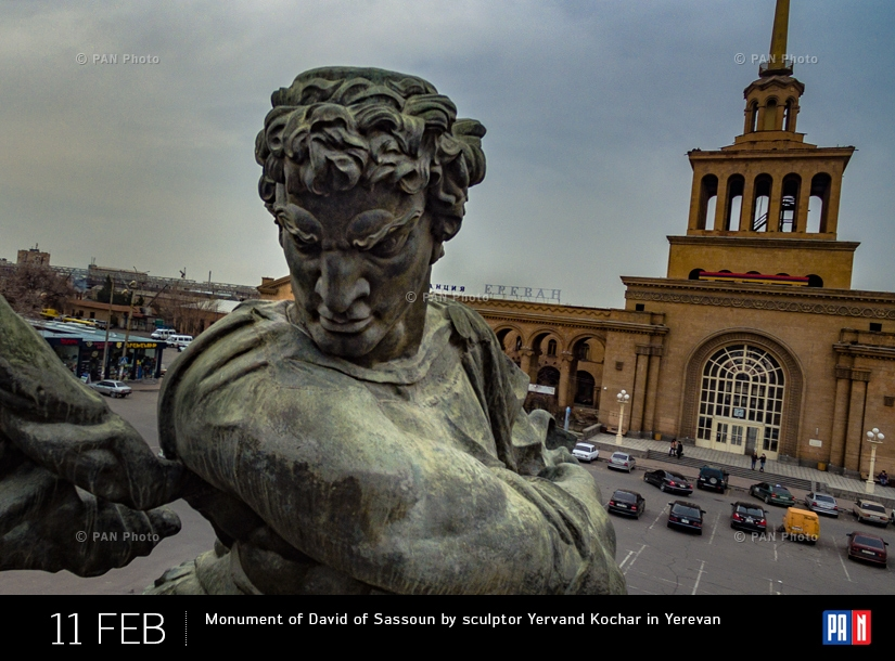 Monument of David of Sassoun by sculptor Yervand Kochar  in Yerevan