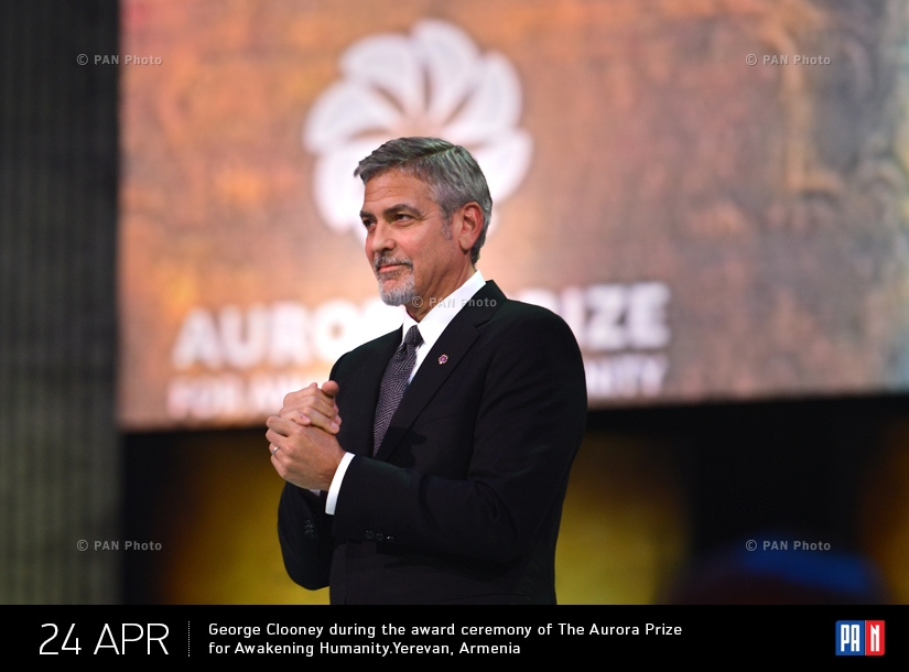 George Clooney during the award ceremony of The Aurora Prize for Awakening Humanity.Yerevan, Armenia