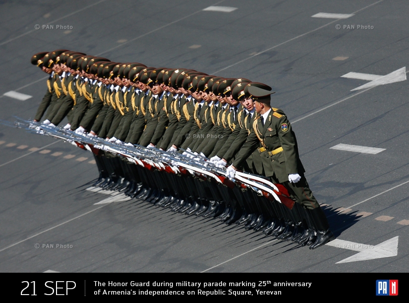 The Honor Guard during military parade marking 25th anniversary of Armenia's independence on Republic Square, Yerevan