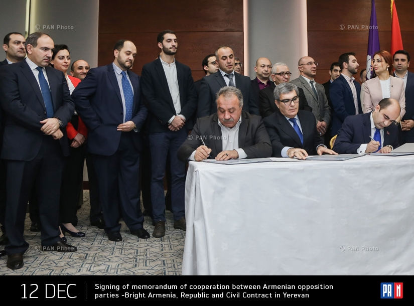 Signing of memorandum of cooperation between Armenian opposition parties -Bright Armenia, Republic and Civil Contract in Yerevan