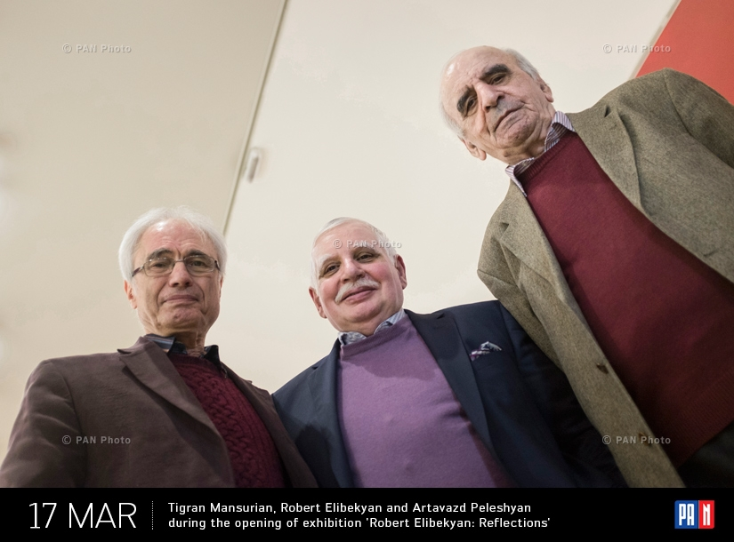 Composer Tigran Mansurian, Artist Robert Elibekyan and Director Artavazd Peleshyan during the opening of exhibition 'Robert Elibekyan: Reflections' at Cafesjian Center for the Arts