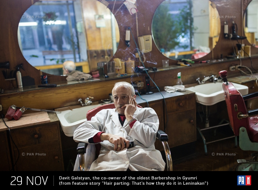 "Davit Galstyan, the co-owner of the oldest Barbershop in Gyumri (from feature story ""Hair parting: That's how they do it in Leninakan"")"