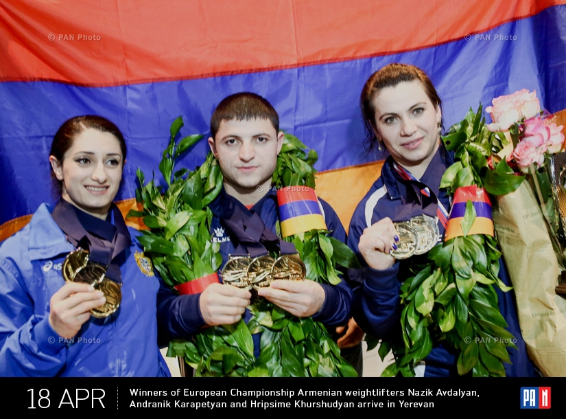 Winners of European Championship Armenian weightlifters Nazik Avdalyan, Andranik Karapetyan and Hripsime Khurshudyan arrive in Yerevan