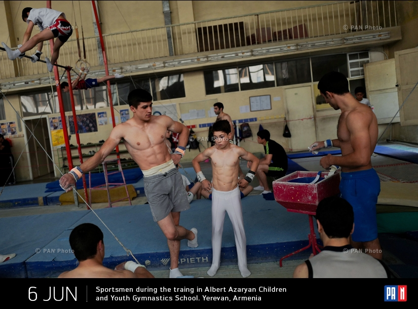 Sportsmen during the traing in Albert Azaryan Children and Youth Gymnastics School. Yerevan, Armenia