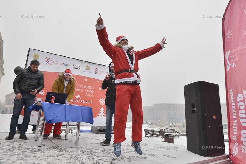 Charity and fun run in Santa costumes