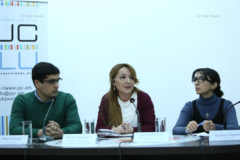 Press conference of coordinator of Coalition to Stop Violence against Women Zaruhi Hovhannisyan, coordinator of Equality for All: Civil Society Coalition Against Discrimination Anahit Chilingaryan and head of Sinjar Yezidi National Union Boris Murazi
