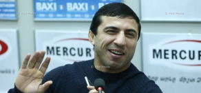 Press conference by Armenian Greco-Roman wrestler Roman Amoyan