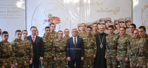 Armenian President Serzh Sargsyan hands awards to soldiers on the occasion of St. Sarkis Day