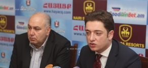 Press conference of Narek Galstyan, chairman of the Social Democrat Hunchakian Party (SDHP)