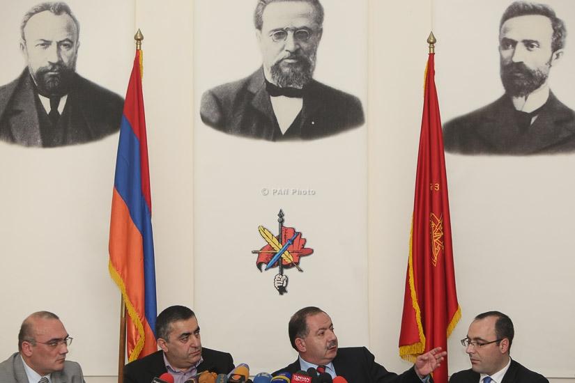 Press conference by ARF Bureau representative Armen Rustamyan and ARF Supreme Body member Aghvan Vardanyan