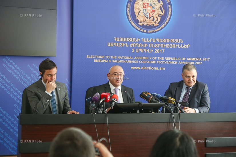 Press conference of CEC chairman Tigran Mukuchyan, Minister-Chief of the Government Staff of Armenia  Davit Harutyunyan and UN Resident Coordinator/UNDP Resident Representative in Armenia Bradley Busetto