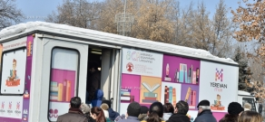 Route launch ceremony of Armenia's first-ever mobile bookstore GraBus (Library-bus)