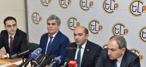 Press conference by the members of Yelk (Exit) Alliance Edmon Marukyan, Aram Sargsyan and Nikol Pashinyan